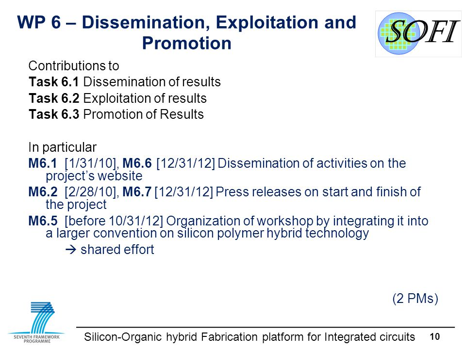 Silicon-Organic hybrid Fabrication platform for Integrated circuits 10 WP 6 – Dissemination, Exploitation and Promotion Contributions to Task 6.1Disse