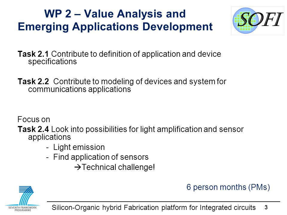 Silicon-Organic hybrid Fabrication platform for Integrated circuits 3 WP 2 – Value Analysis and Emerging Applications Development Task 2.1Contribute t