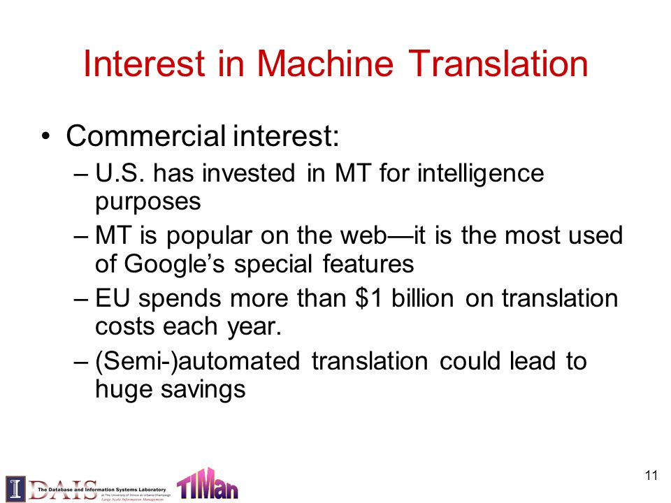 11 Interest in Machine Translation Commercial interest: –U.S. has invested in MT for intelligence purposes –MT is popular on the web—it is the most us