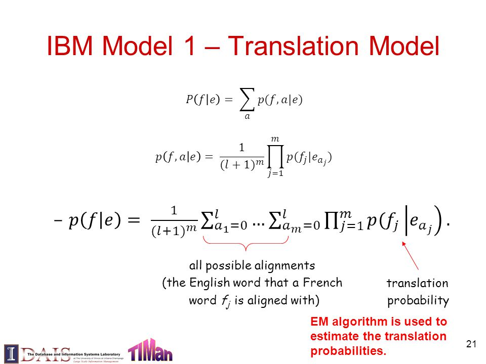 21 IBM Model 1 – Translation Model all possible alignments (the English word that a French word f j is aligned with) translation probability EM algori