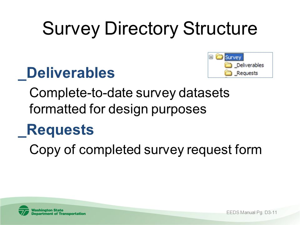 Survey Directory Structure _Deliverables Complete-to-date survey datasets formatted for design purposes _Requests Copy of completed survey request for