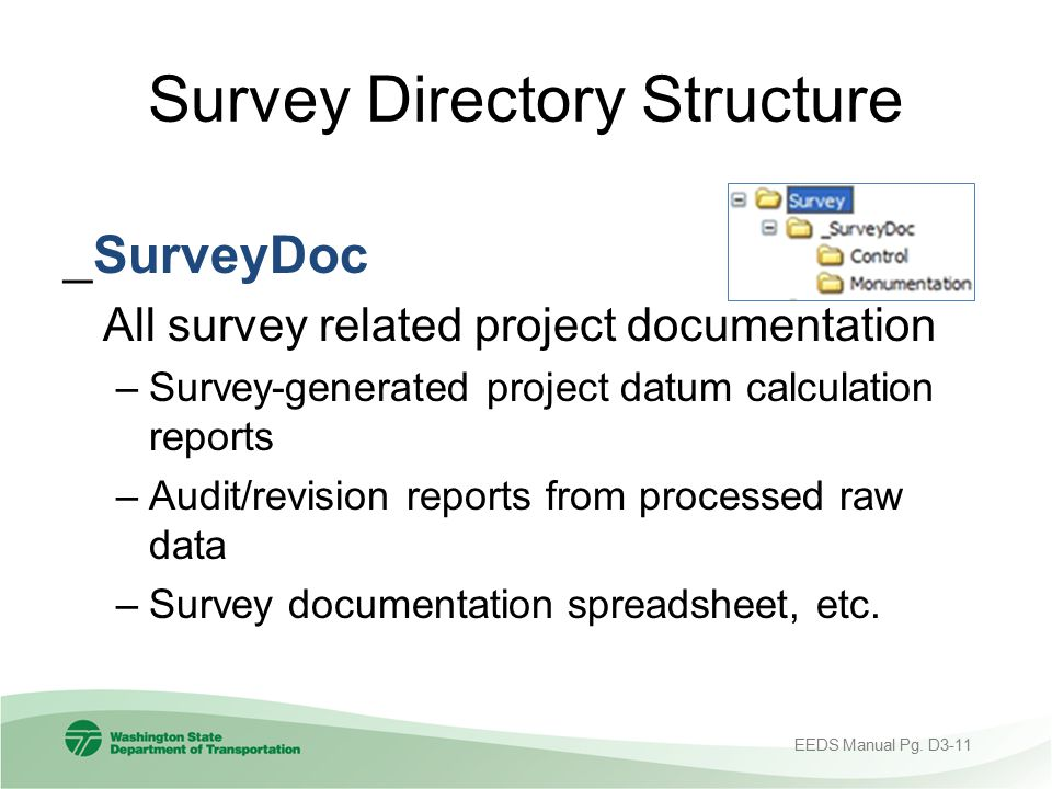 Survey Directory Structure _SurveyDoc All survey related project documentation –Survey-generated project datum calculation reports –Audit/revision rep