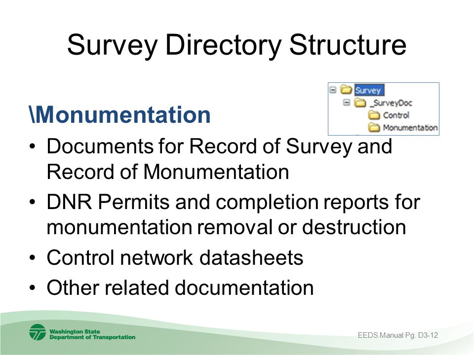 Survey Directory Structure \Monumentation Documents for Record of Survey and Record of Monumentation DNR Permits and completion reports for monumentat