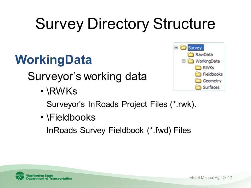 Survey Directory Structure WorkingData Surveyor's working data \RWKs Surveyor's InRoads Project Files (*.rwk). \Fieldbooks InRoads Survey Fieldbook (*