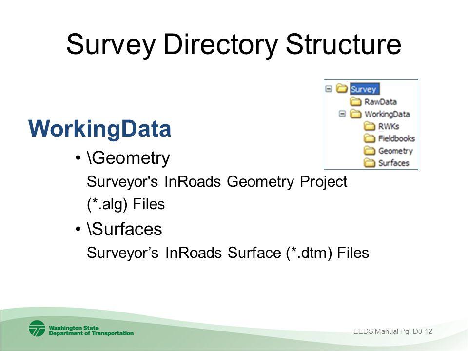 Survey Directory Structure WorkingData \Geometry Surveyor's InRoads Geometry Project (*.alg) Files \Surfaces Surveyor's InRoads Surface (*.dtm) Files