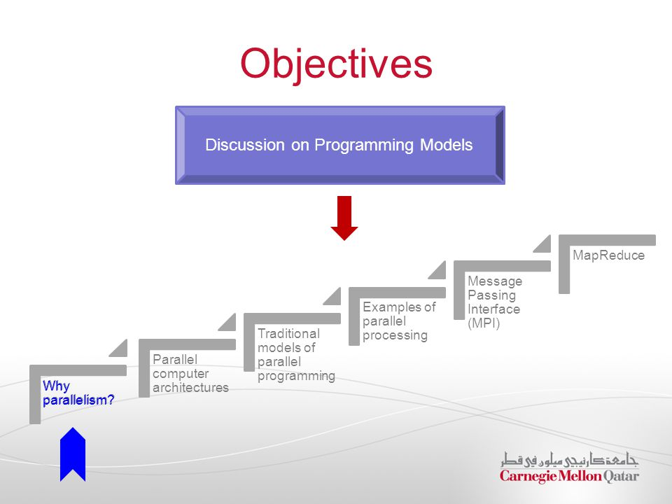 Objectives Discussion on Programming Models Why parallelism? Parallel computer architectures Traditional models of parallel programming Examples of pa