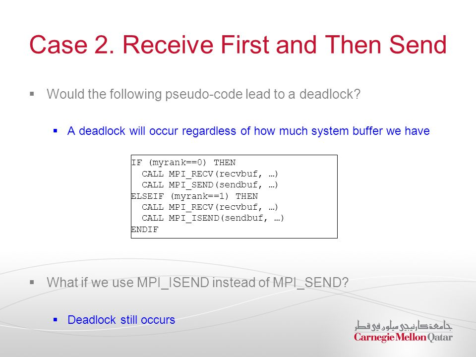 Case 2. Receive First and Then Send  Would the following pseudo-code lead to a deadlock?  A deadlock will occur regardless of how much system buffer