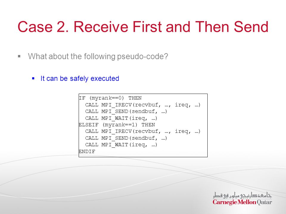 Case 2. Receive First and Then Send  What about the following pseudo-code?  It can be safely executed IF (myrank==0) THEN CALL MPI_IRECV(recvbuf, …,