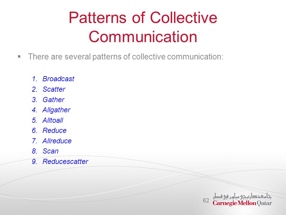 Patterns of Collective Communication  There are several patterns of collective communication: 1.Broadcast 2.Scatter 3.Gather 4.Allgather 5.Alltoall 6