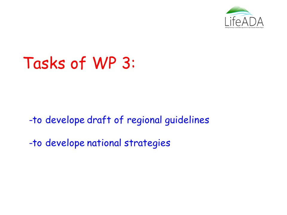 Tasks of WP 3: -to develope draft of regional guidelines -to develope national strategies