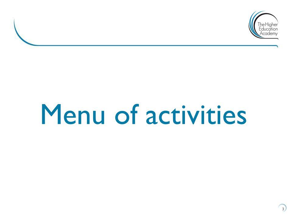 3 Menu of activities