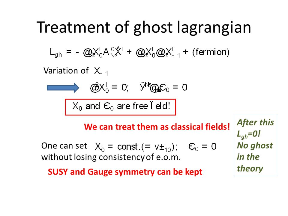 Treatment of ghost lagrangian Variation of We can treat them as classical fields.
