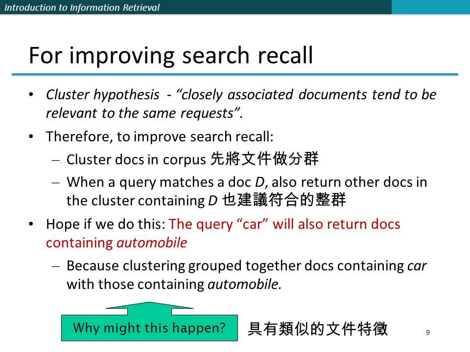 Introduction to Information Retrieval K-means algorithm 20