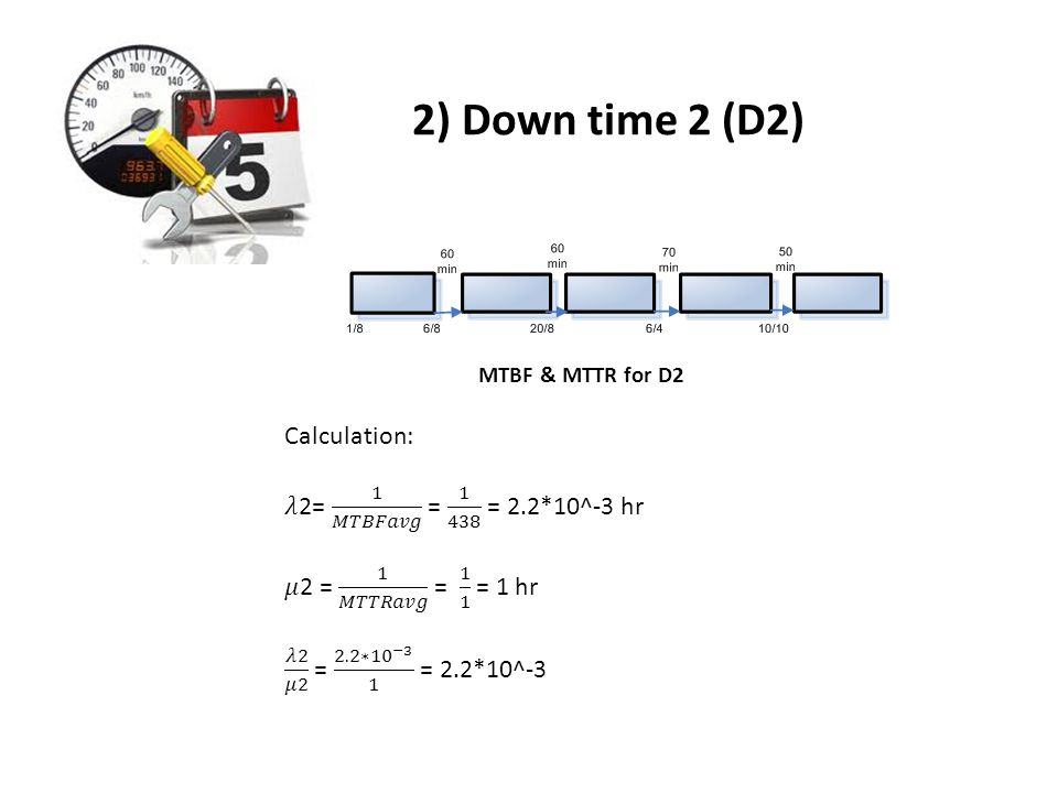 2) Down time 2 (D2) MTBF & MTTR for D2
