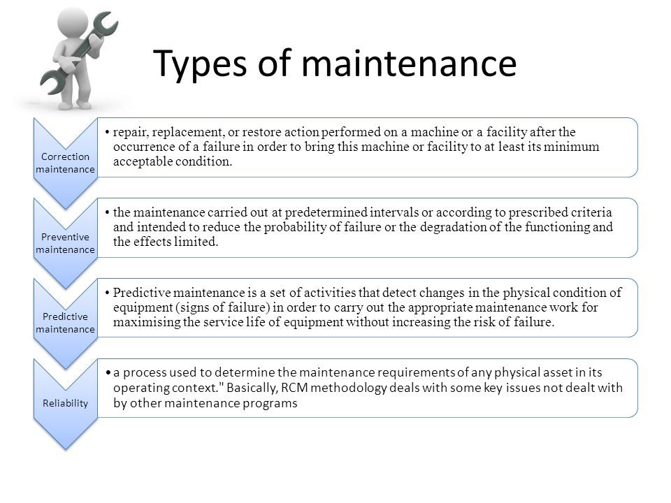 Types of maintenance Correction maintenance repair, replacement, or restore action performed on a machine or a facility after the occurrence of a fail
