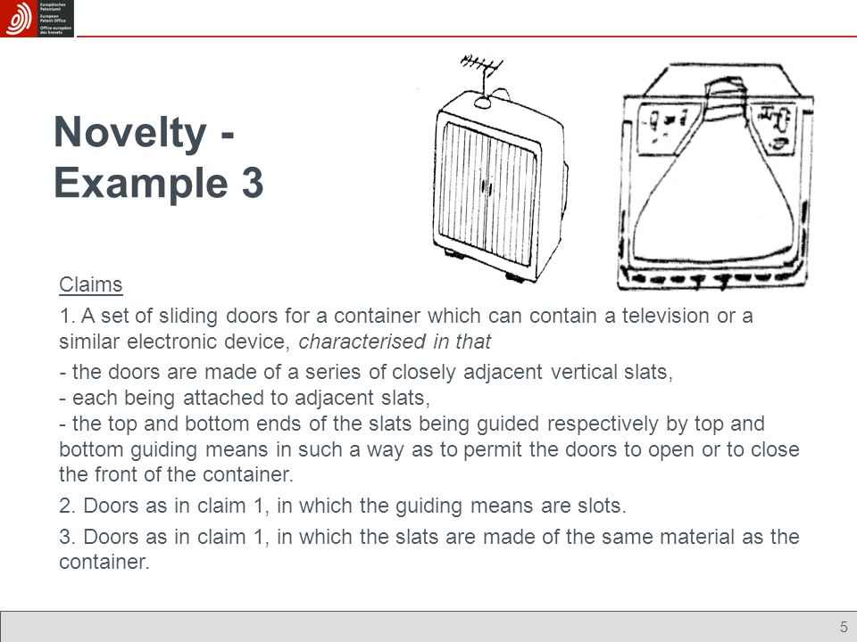 Novelty - Example 3 Claims 1. A set of sliding doors for a container which can contain a television or a similar electronic device, characterised in t
