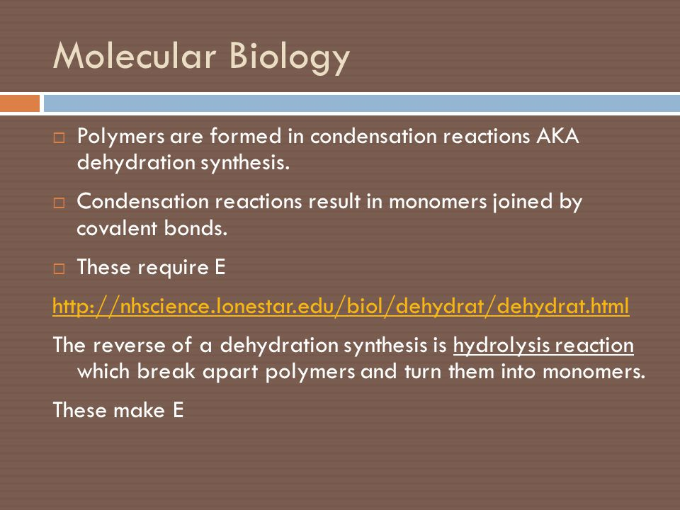Molecular Biology  Polymers are formed in condensation reactions AKA dehydration synthesis.  Condensation reactions result in monomers joined by cov