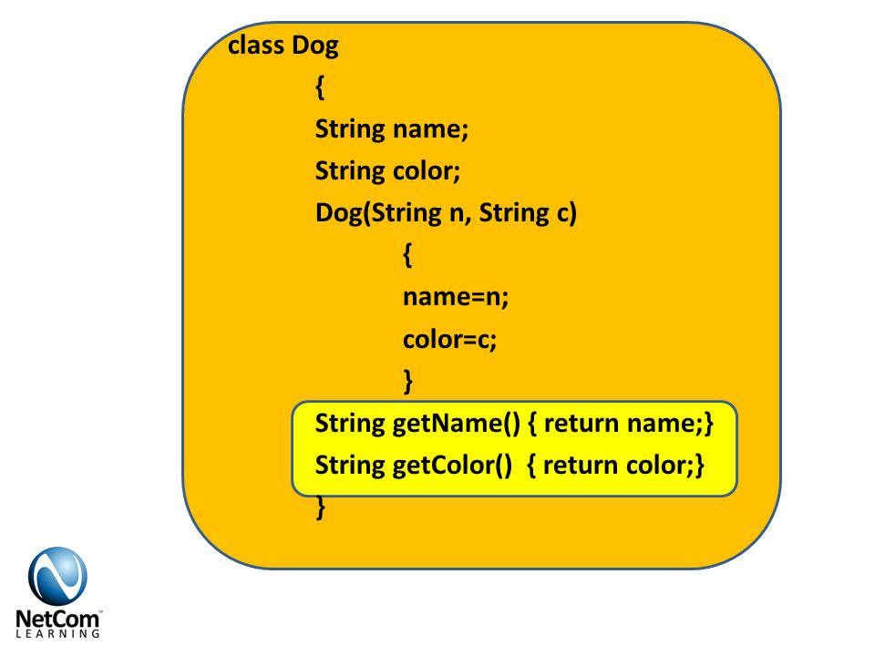 class Dog { String name; String color; Dog(String n, String c) { name=n; color=c; } String getName() { return name;} String getColor() { return color;} }
