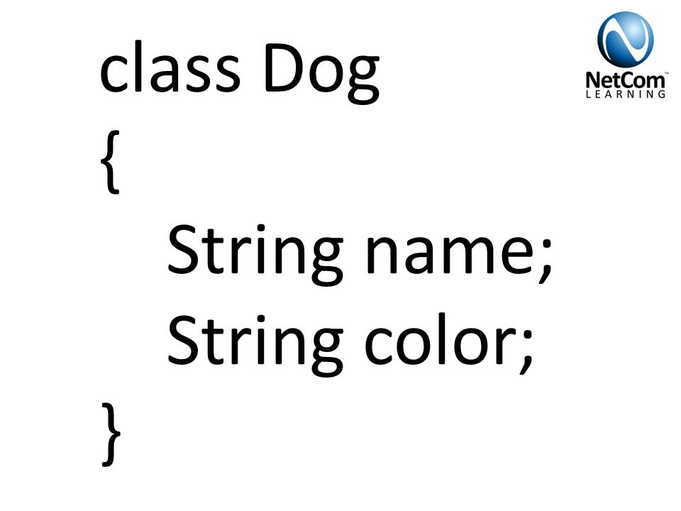class Dog { String name; String color; }