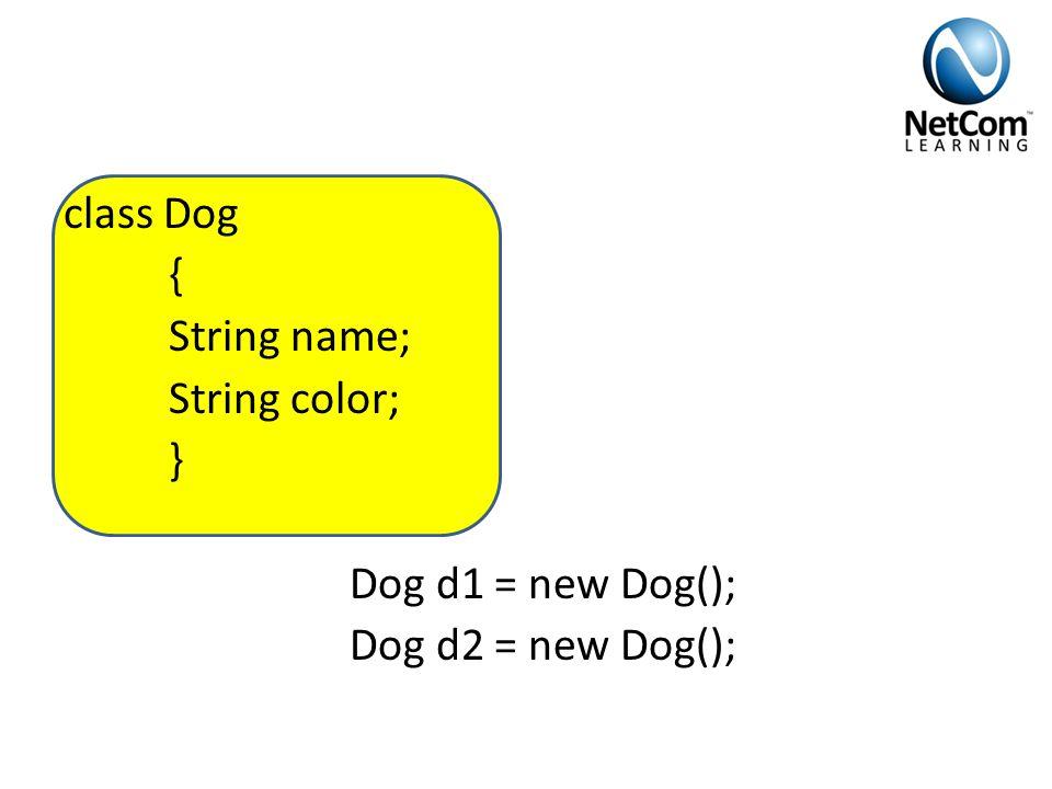 class Dog { String name; String color; } Dog d1 = new Dog(); Dog d2 = new Dog();