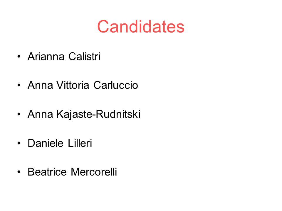 Candidates Arianna Calistri Anna Vittoria Carluccio Anna Kajaste-Rudnitski Daniele Lilleri Beatrice Mercorelli