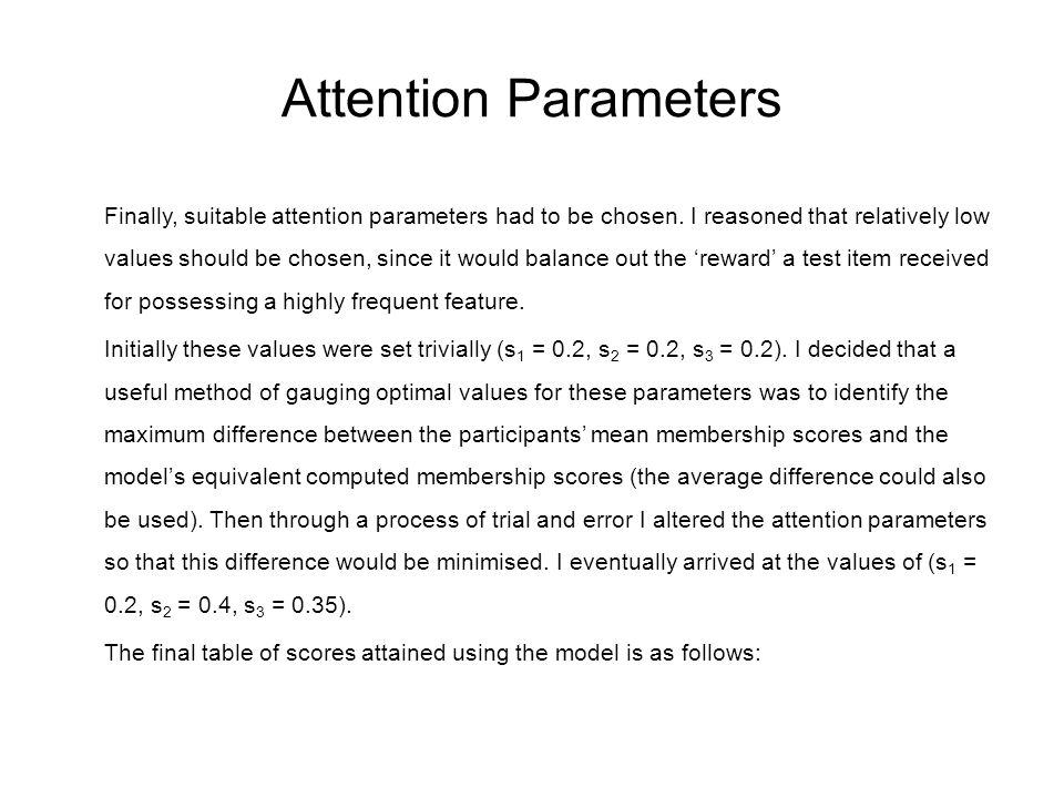 Attention Parameters Finally, suitable attention parameters had to be chosen. I reasoned that relatively low values should be chosen, since it would b