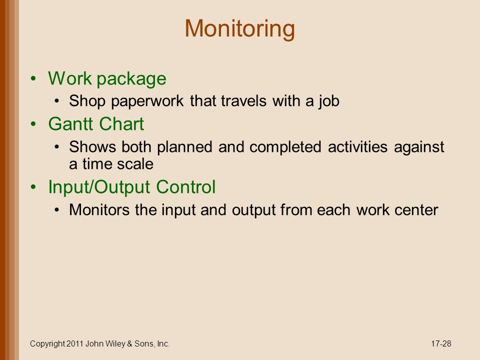 Monitoring Work package Shop paperwork that travels with a job Gantt Chart Shows both planned and completed activities against a time scale Input/Outp