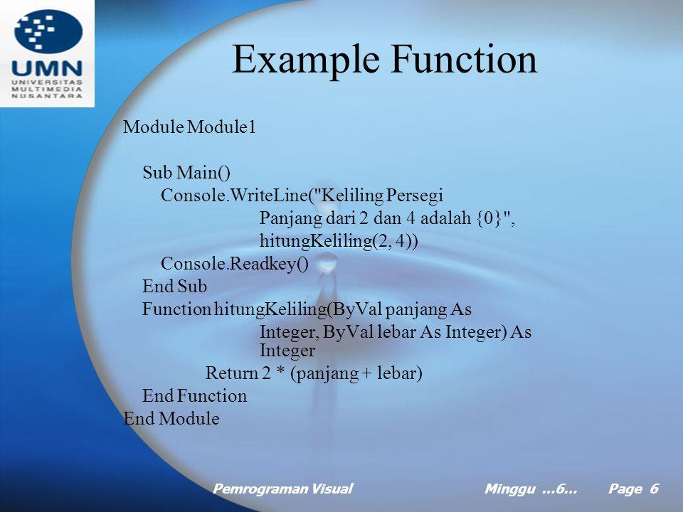 Pemrograman VisualMinggu …6… Page 5 Function Mengembalikan nilai Bisa memiliki satu atau lebih parameter atau tidak sama sekali Examples: Panjang Lebar dan Keliling Persegi Panjang