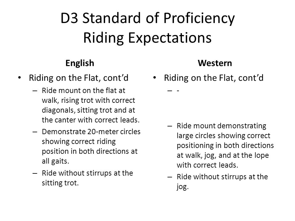 D3 Standard of Proficiency Riding Expectations English Riding on the Flat, cont'd – Ride mount on the flat at walk, rising trot with correct diagonals, sitting trot and at the canter with correct leads.