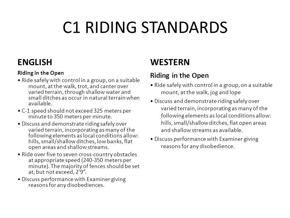 C1 RIDING STANDARDS ENGLISH Riding in the Open Ride safely with control in a group, on a suitable mount, at the walk, trot, and canter over varied terrain, through shallow water and small ditches as occur in natural terrain when available.