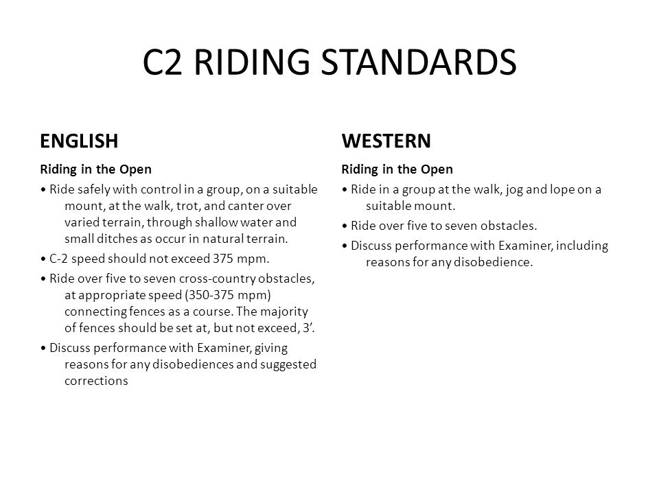 C2 RIDING STANDARDS ENGLISH Riding in the Open Ride safely with control in a group, on a suitable mount, at the walk, trot, and canter over varied terrain, through shallow water and small ditches as occur in natural terrain.