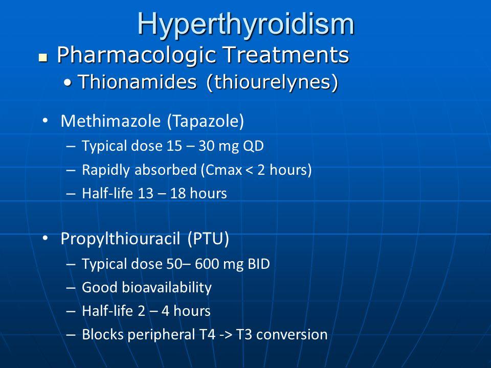 Pharmacologic Treatments Pharmacologic Treatments Thionamides (thiourelynes)Thionamides (thiourelynes) Hyperthyroidism Methimazole (Tapazole) – Typica