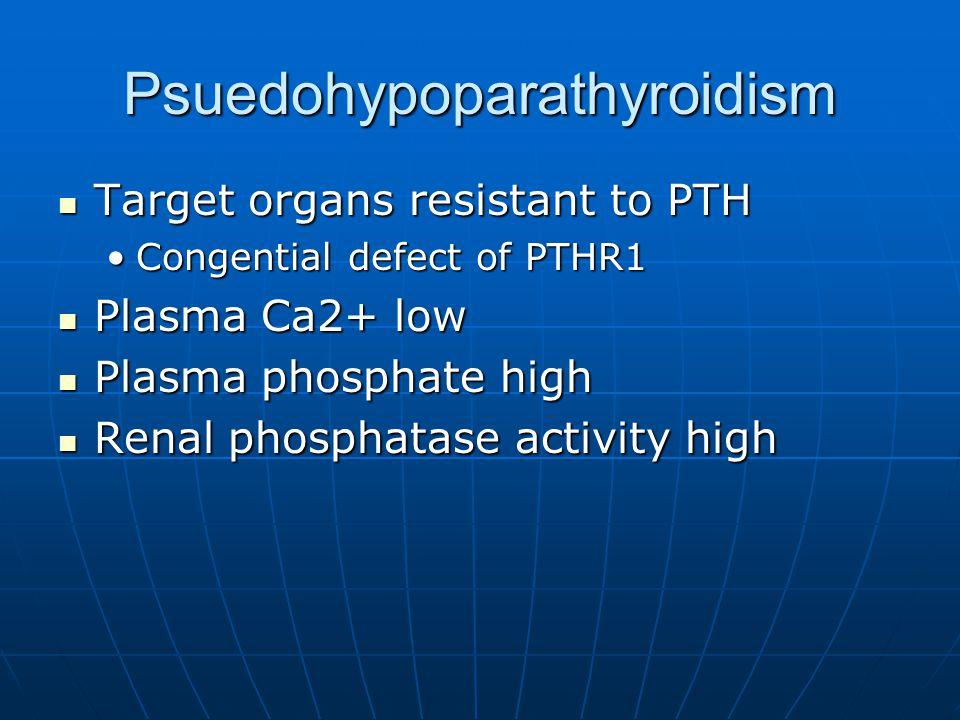 Psuedohypoparathyroidism Target organs resistant to PTH Target organs resistant to PTH Congential defect of PTHR1Congential defect of PTHR1 Plasma Ca2