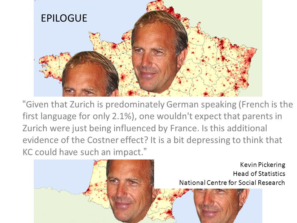 EPILOGUE Given that Zurich is predominately German speaking (French is the first language for only 2.1%), one wouldn t expect that parents in Zurich were just being influenced by France.