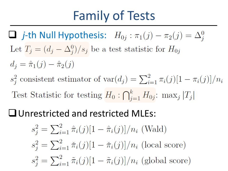 Family of Tests  j-th Null Hypothesis:  Unrestricted and restricted MLEs:
