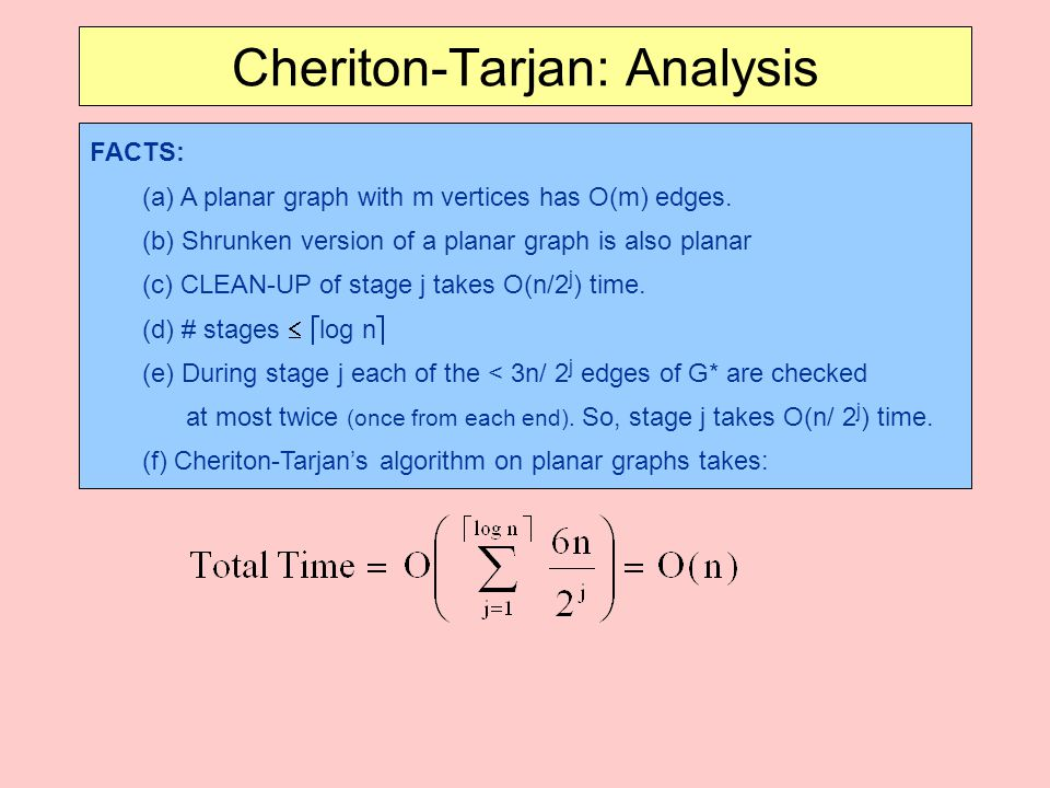 Cheriton-Tarjan: Analysis FACTS: (a) A planar graph with m vertices has O(m) edges.