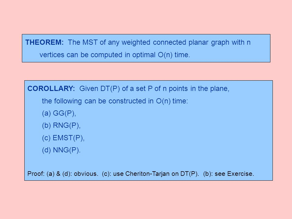 THEOREM: The MST of any weighted connected planar graph with n vertices can be computed in optimal O(n) time. COROLLARY: Given DT(P) of a set P of n p