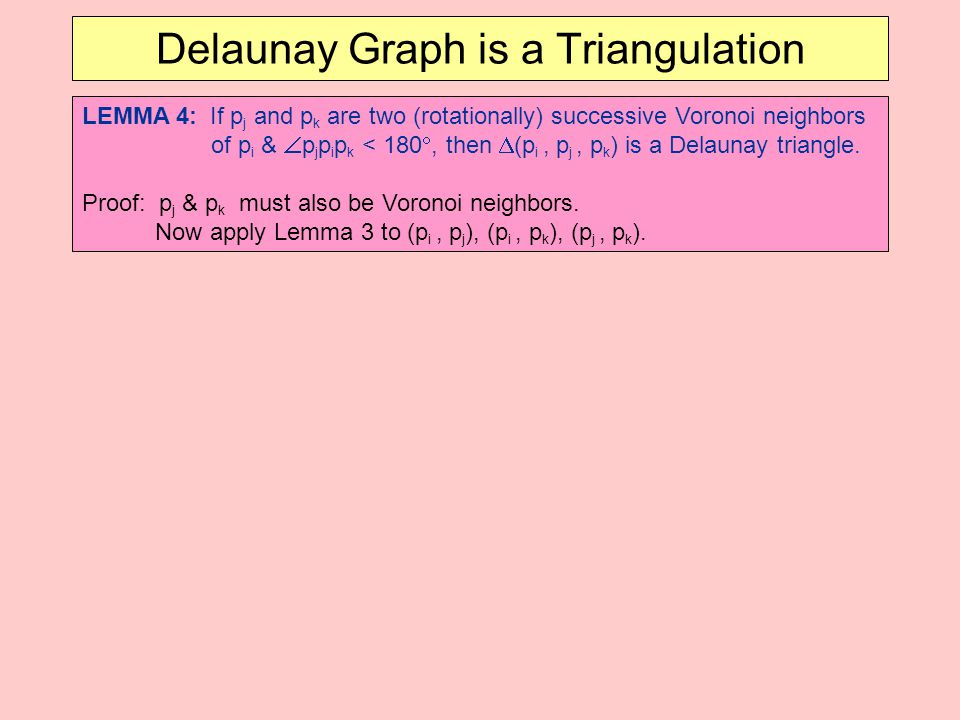 Delaunay Graph is a Triangulation LEMMA 4: If p j and p k are two (rotationally) successive Voronoi neighbors of p i &  p j p i p k < 180 , then  (p i, p j, p k ) is a Delaunay triangle.