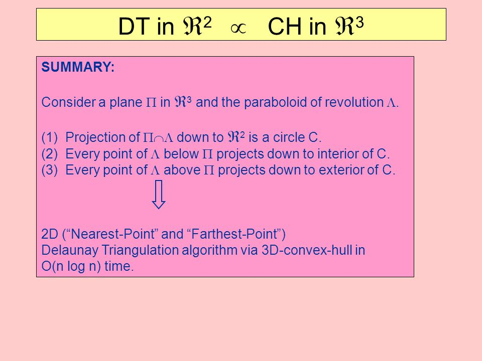 SUMMARY: Consider a plane  in  3 and the paraboloid of revolution .