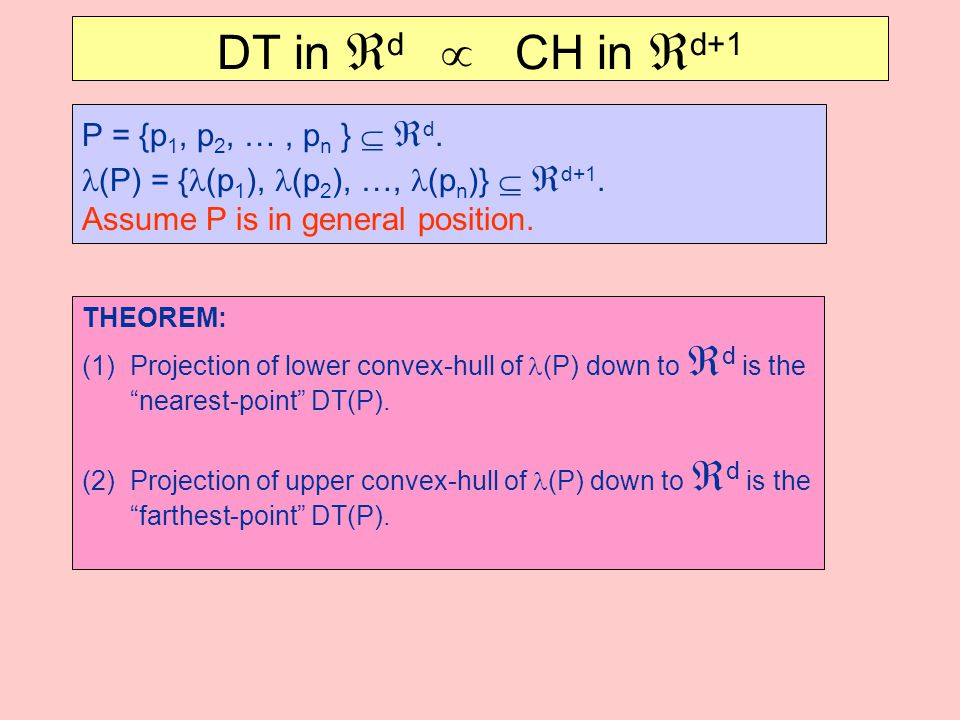 DT in  d  CH in  d+1 P = {p 1, p 2, …, p n }   d. (P) = { (p 1 ), (p 2 ), …, (p n )}   d+1. Assume P is in general position. THEOREM: (1)Projec