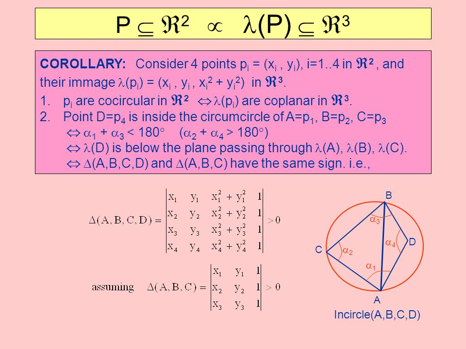 COROLLARY: Consider 4 points p i = (x i, y i ), i=1..4 in  2, and their immage (p i ) = (x i, y i, x i 2 + y i 2 ) in  3. 1.p i are cocircular in 