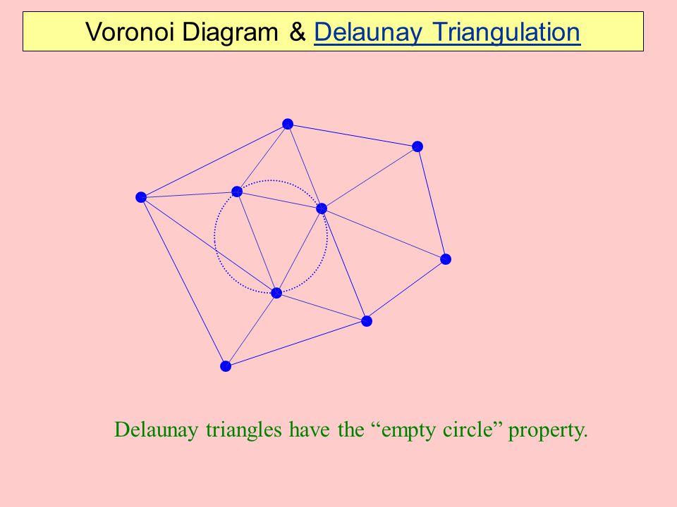 "Delaunay triangles have the ""empty circle"" property. Voronoi Diagram & Delaunay Triangulation"