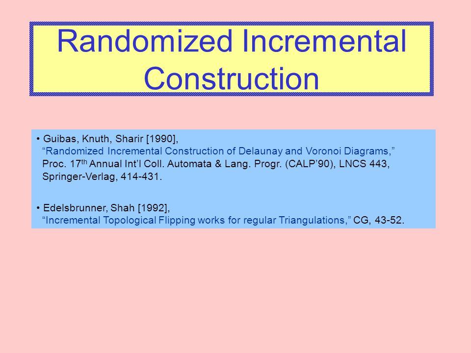 "Randomized Incremental Construction Guibas, Knuth, Sharir [1990], ""Randomized Incremental Construction of Delaunay and Voronoi Diagrams,"" Proc. 17 th"