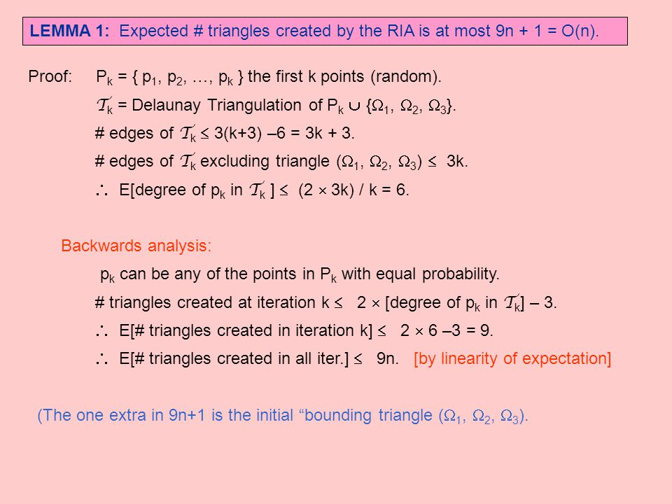 LEMMA 1: Expected # triangles created by the RIA is at most 9n + 1 = O(n). Proof: P k = { p 1, p 2, …, p k } the first k points (random). T k = Delaun
