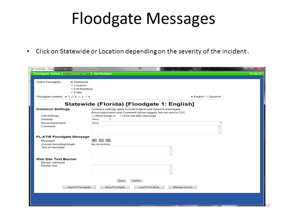 Floodgate Messages Click on Statewide or Location depending on the severity of the incident. 60