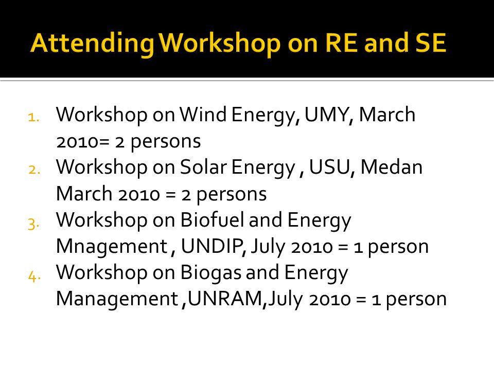 1. Workshop on Wind Energy, UMY, March 2010= 2 persons 2.