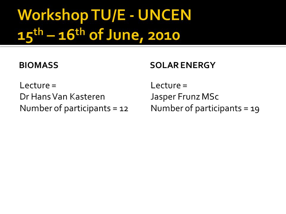 BIOMASS Lecture = Dr Hans Van Kasteren Number of participants = 12 SOLAR ENERGY Lecture = Jasper Frunz MSc Number of participants = 19
