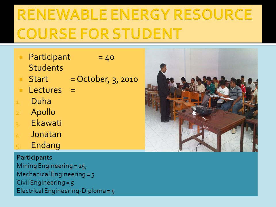  Participant = 40 Students  Start= October, 3, 2010  Lectures= 1.