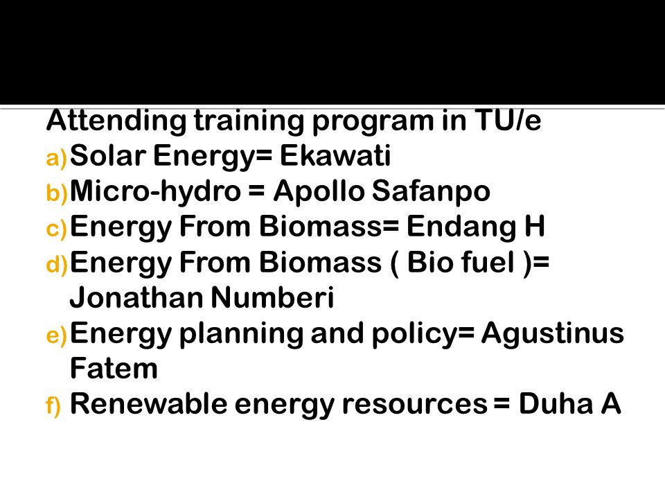 Attending training program in TU/e a) Solar Energy= Ekawati b) Micro-hydro = Apollo Safanpo c) Energy From Biomass= Endang H d) Energy From Biomass ( Bio fuel )= Jonathan Numberi e) Energy planning and policy= Agustinus Fatem f) Renewable energy resources = Duha A