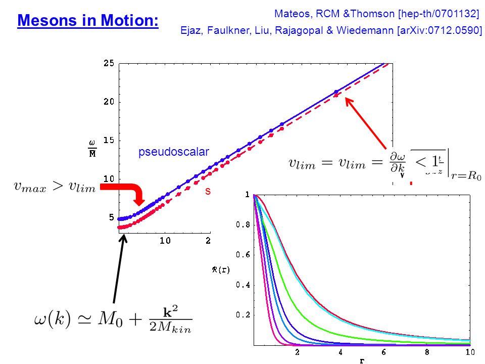 Mesons in Motion: pseudoscalar scalar Mateos, RCM &Thomson [hep-th/0701132] Ejaz, Faulkner, Liu, Rajagopal & Wiedemann [arXiv:0712.0590] Radial profile k increasing